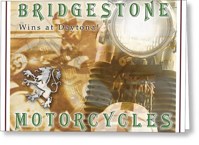 Motorcycles Pyrography Greeting Cards - Bridgestone Wins Greeting Card by Eric Monse