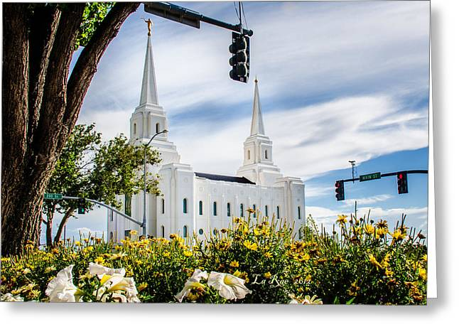 Utah Temple Photography Greeting Cards - Brigham City Temple Street Lights Greeting Card by La Rae  Roberts