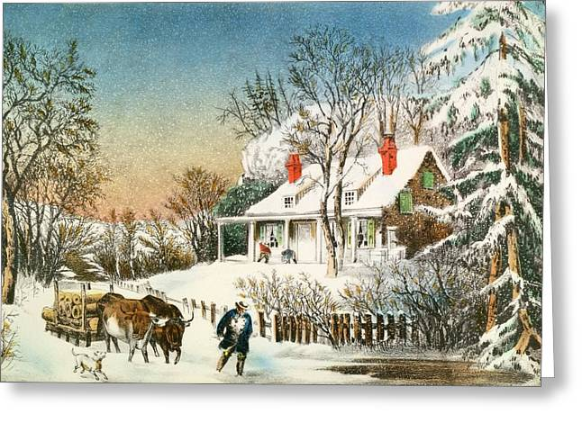 Snowfall Greeting Cards - Bringing Home the Logs Greeting Card by Currier and Ives