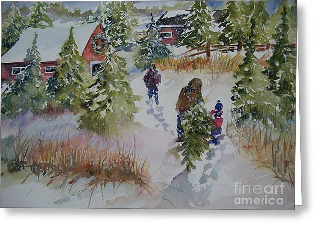 Outbuildings Paintings Greeting Cards - Bringing In the Tree Greeting Card by Sandra Strohschein
