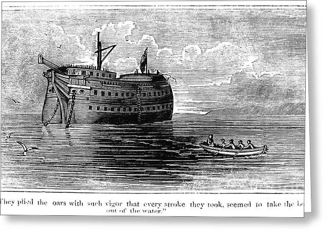 British Prison Ship, 1770s Greeting Card by Granger