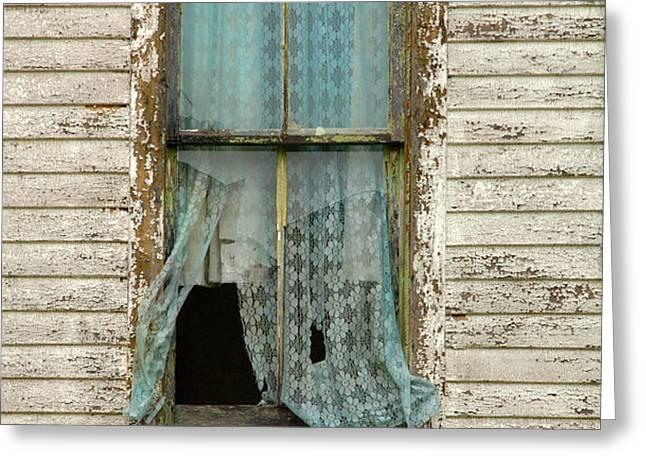 Broken Window in Abandoned House Greeting Card by Jill Battaglia