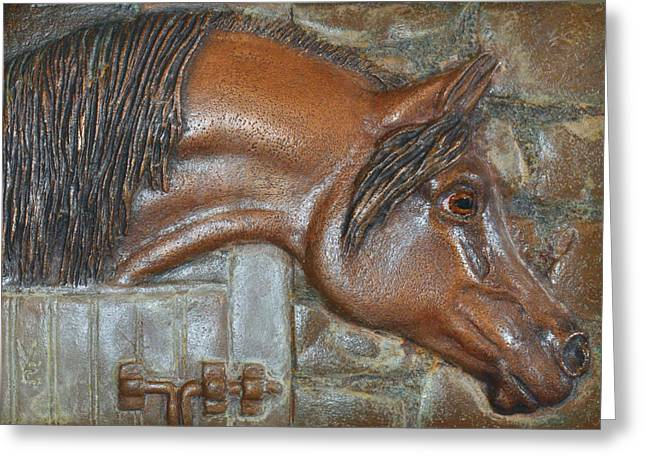 Horse Reliefs Greeting Cards - Bronze Arabian Horse Relief Greeting Card by Valerie  Evanson