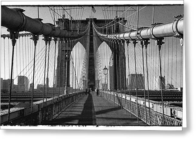 Brooklyn Bridge Greeting Card by Peter Aitchison