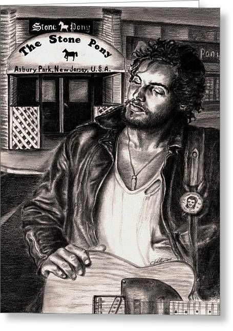Male Singer Greeting Cards - Bruce Springsteen Greeting Card by Kathleen Kelly Thompson