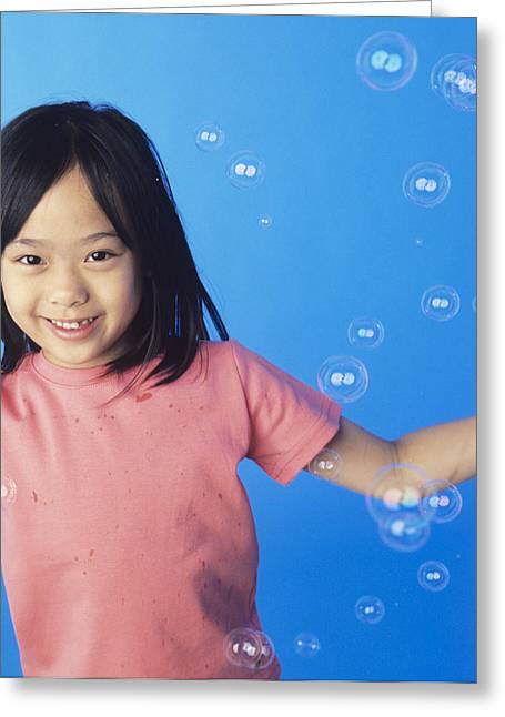 Child Care Greeting Cards - Bubbles Greeting Card by Ian Boddy