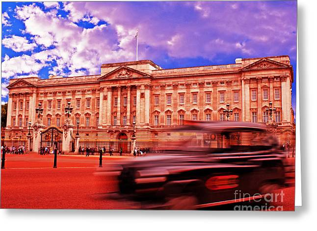 Buckingham Palace Greeting Cards - Buckingham Palace with Black Cab Greeting Card by Chris Smith