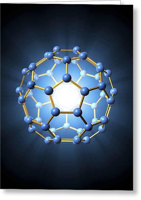 Truncated Greeting Cards - Buckminsterfullerene Molecule Greeting Card by Roger Harris