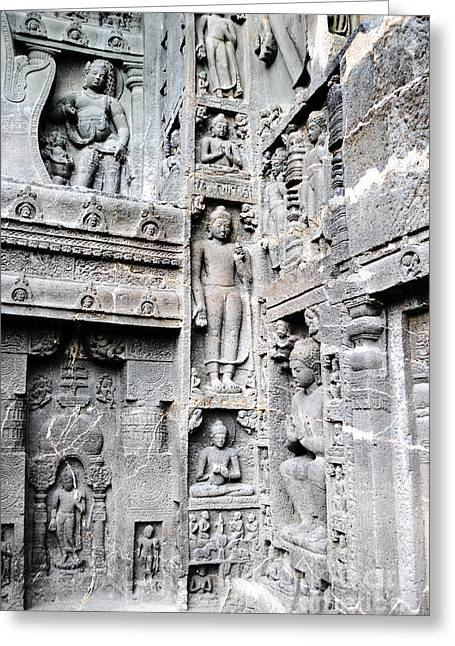 Authentic Greeting Cards - Buddha carvings at ajanta caves Greeting Card by Sumit Mehndiratta
