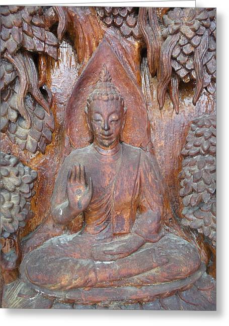 Interior Scene Tapestries - Textiles Greeting Cards - Buddha image  Greeting Card by Panyanon Hankhampa