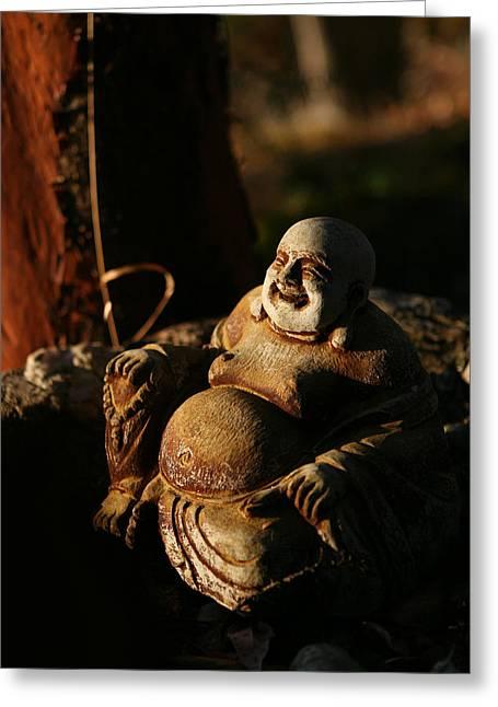 Buddha Of The Forest Greeting Card by Lorraine Devon Wilke