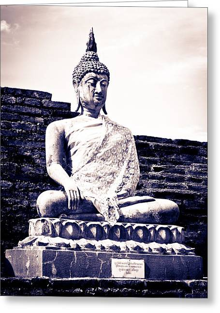 Religious Sculptures Greeting Cards - Buddha statue Greeting Card by Thosaporn Wintachai
