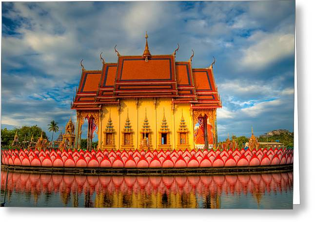 Religious Digital Art Greeting Cards - Buddha Temple  Greeting Card by Adrian Evans
