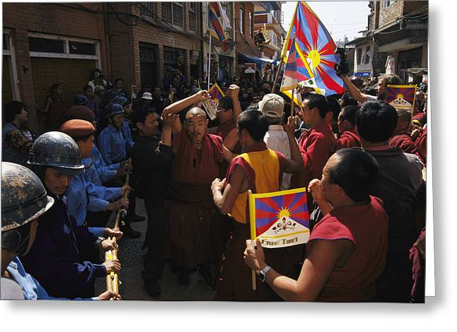 Human Rights Issues And Activities Greeting Cards - Buddhist Monks And Nuns Wage A Protest Greeting Card by Maria Stenzel
