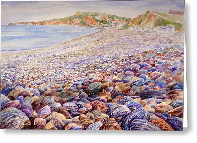 Pebbles Greeting Cards - Budleigh Salterton Beach Greeting Card by Merv Scoble