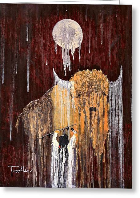 Moos Print Greeting Cards - Buffalo Spirit Greeting Card by Patrick Trotter