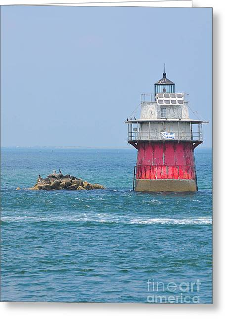 Plymouth Harbor Greeting Cards - Bug Light Greeting Card by Catherine Reusch  Daley