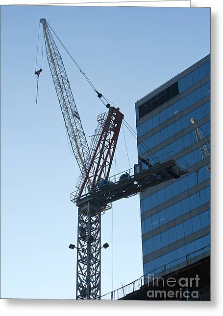 Copy Machine Greeting Cards - Building crane Greeting Card by Blink Images