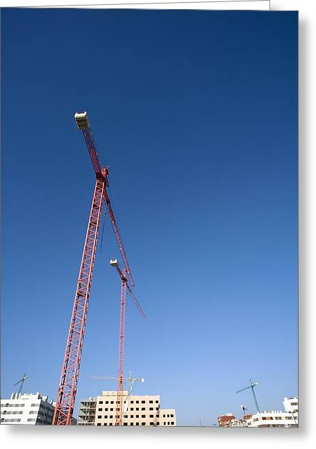 Building Crane Greeting Cards - Building Site, Spain Greeting Card by Carlos Dominguez