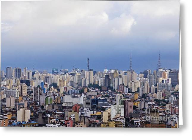 Office Space Greeting Cards - Buildings of Downtown Sao Paulo Greeting Card by Jeremy Woodhouse