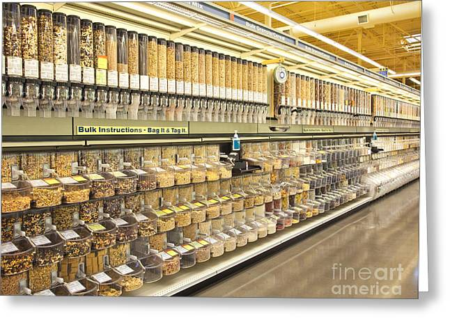 Grocery Store Greeting Cards - Bulk Food Bins in a Grocery Store Greeting Card by David Buffington
