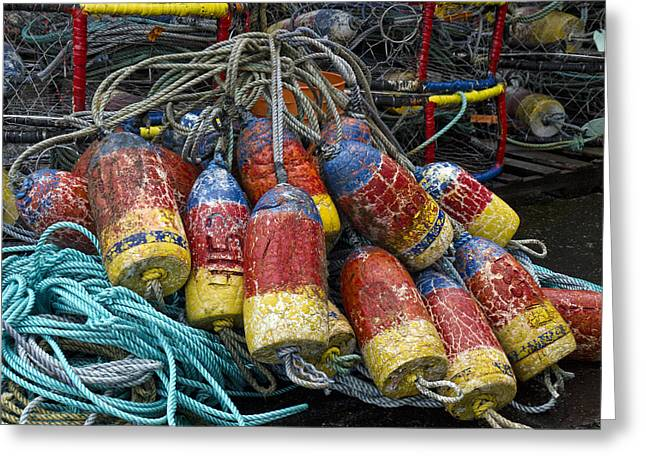 Fishing Net Greeting Cards - Buoys and Crabpots on the Oregon Coast Greeting Card by Carol Leigh