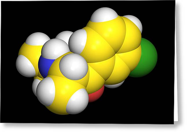 Bupropion Drug Molecule Greeting Card by Dr Tim Evans
