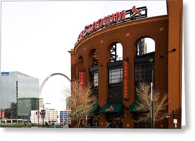 Baseball Stadiums Greeting Cards - Busch Stadium Greeting Card by Cindy Tiefenbrunn