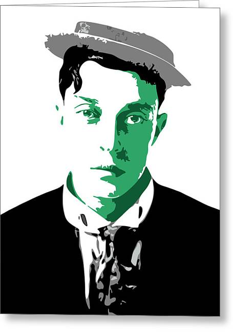 Comedians Digital Art Greeting Cards - Buster Keaton Greeting Card by DB Artist