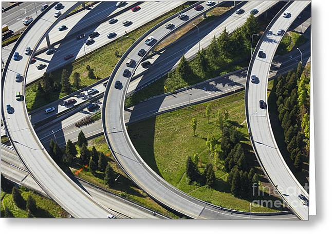 Merging Greeting Cards - Busy Freeway Interchange Greeting Card by Don Mason