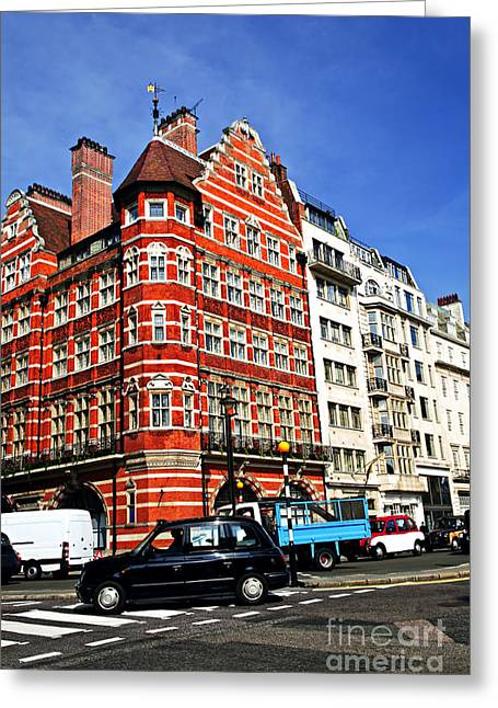 Townhouses Greeting Cards - Busy street corner in London Greeting Card by Elena Elisseeva