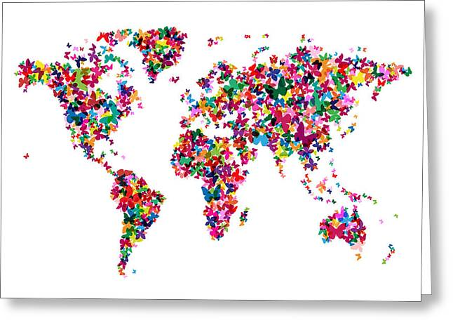 Geography Greeting Cards - Butterflies Map of the World Greeting Card by Michael Tompsett