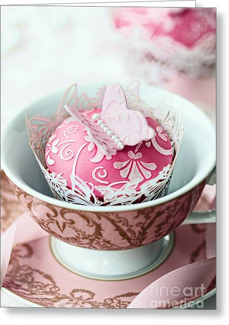 Tea Party Greeting Cards - Butterfly cupcake Greeting Card by Ruth Black