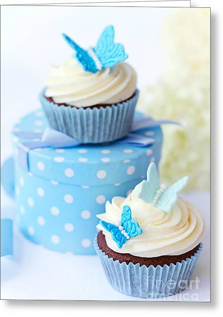Chocolate Frosting Greeting Cards - Butterfly cupcakes Greeting Card by Ruth Black