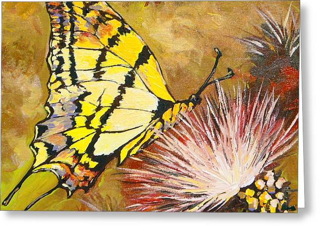 Antenna Paintings Greeting Cards - Butterfly Greeting Card by Sandy Tracey