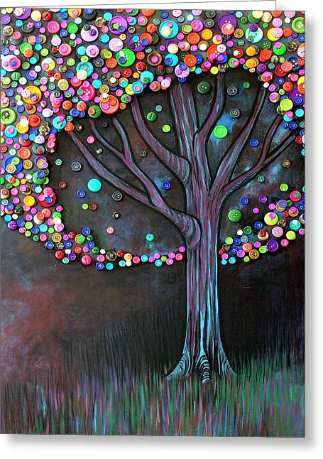 Artist Greeting Cards - Button tree 0006 Greeting Card by Monica Furlow