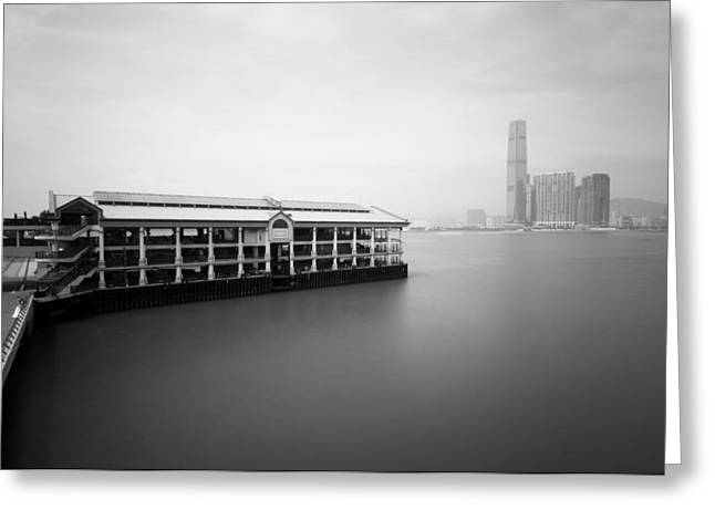 Sea View Greeting Cards - bw Hong Kong harbour view Greeting Card by Kam Chuen Dung