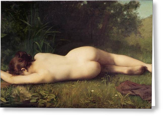 Torn Paintings Greeting Cards - Byblis Turning into a Spring Greeting Card by Jean-Jacques Henner