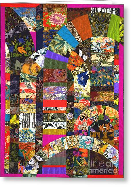 Geometric Tapestries - Textiles Greeting Cards - Byzantium VI Greeting Card by Marilyn Henrion