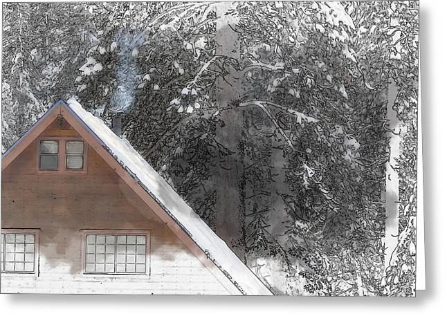 Cabin Window Digital Art Greeting Cards - Cabin in the Winter Greeting Card by Brandon Bourdages
