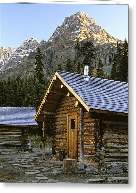 Log Cabins Greeting Cards - Cabin In Yoho National Park, Lake Greeting Card by Ron Watts