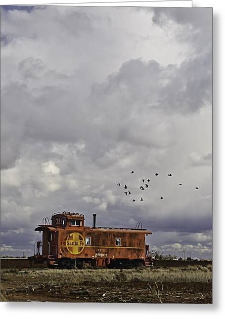 Rural Digital Art Greeting Cards - Caboose in a Cotton Field Greeting Card by Melany Sarafis