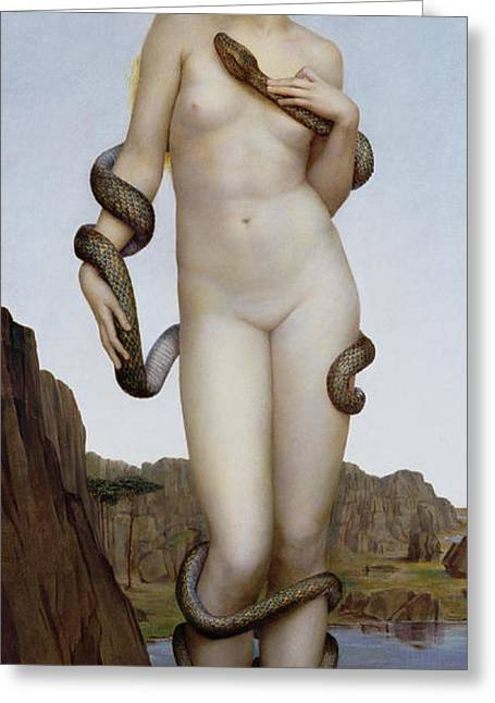 Serpents Greeting Cards - Cadmus and Harmonia Greeting Card by Evelyn De Morgan