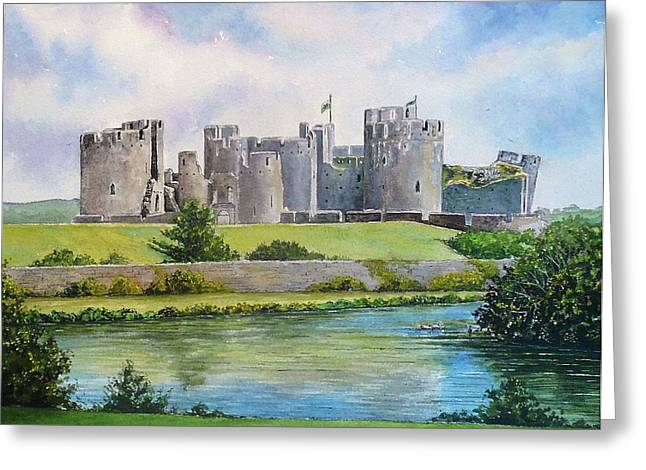 Water Color Artist Greeting Cards - Caerphilly Castle Greeting Card by Andrew Read