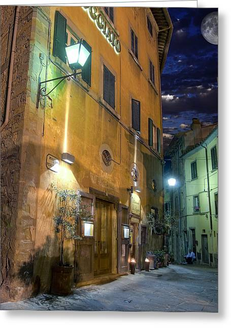 Italian Wine Greeting Cards - Cafe Greeting Card by Al Hurley