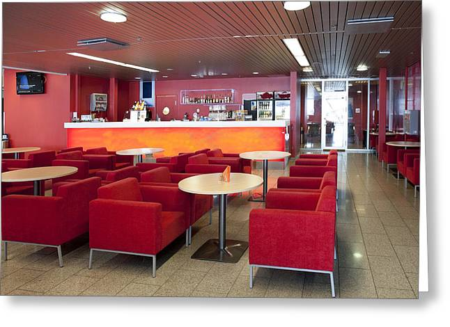 Tallinn Greeting Cards - Cafe And Bar Area In Tallinn Airport Greeting Card by Jaak Nilson