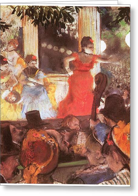 Concerts Pastels Greeting Cards - Cafe Concert at Les Ambassadeurs Greeting Card by Edgar Degas