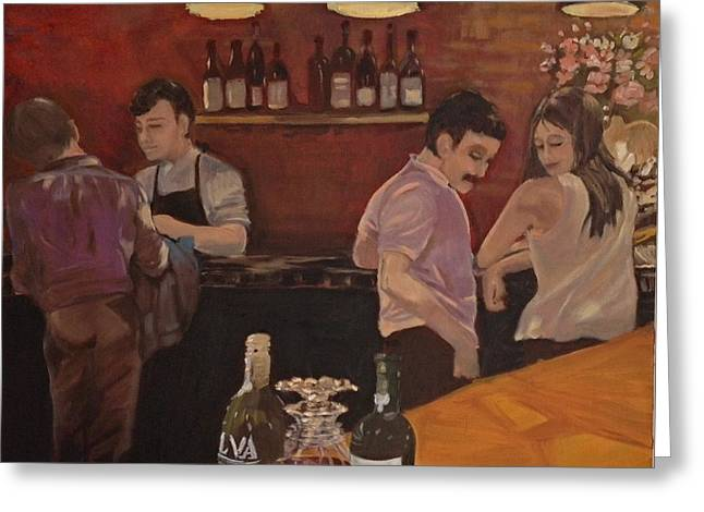 Cafe Greeting Card by Julie Todd-Cundiff