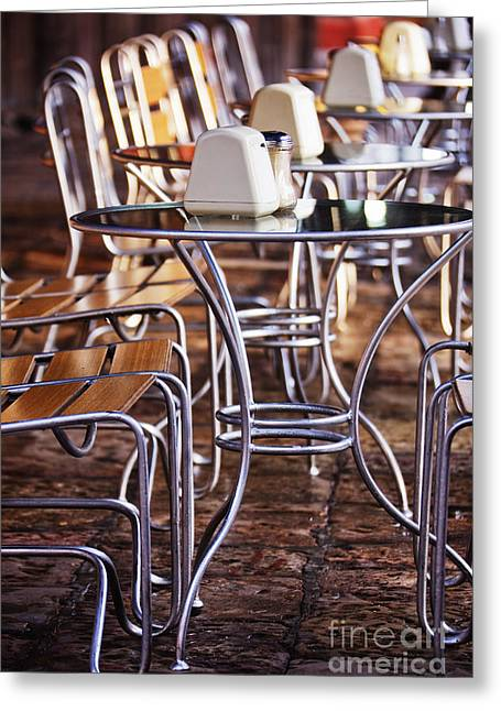 Al Fresco Greeting Cards - Cafe Tables and Chairs Greeting Card by Jeremy Woodhouse