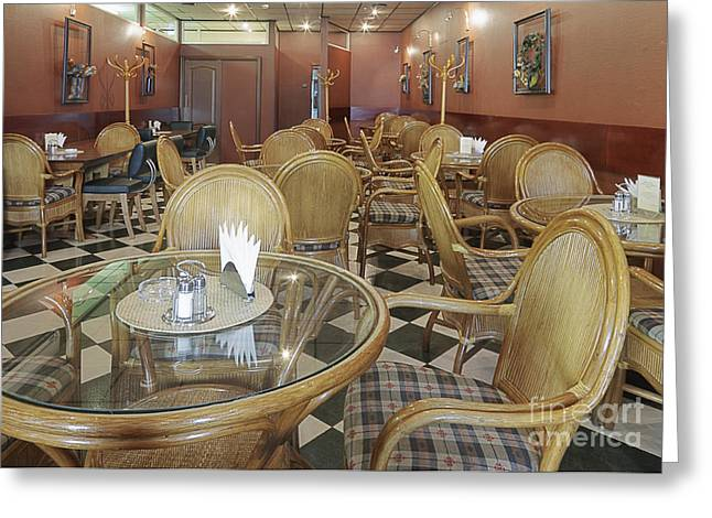 Coat Rack Greeting Cards - Cafe With Rattan Furniture Greeting Card by Magomed Magomedagaev